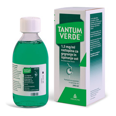 Tantum Verde 1,5 mg/ml, raztopina za grgranje in izpiranje ust 240 ml