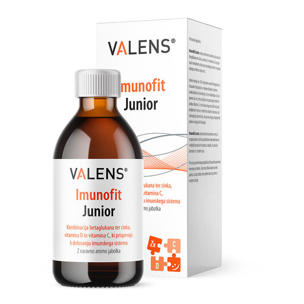 Valens Imunofit Junior, teločina z beta-glukani, cinkom in vitaminoma C in D (120 ml)