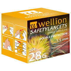 Wellion 28G Safety, 200 lancet