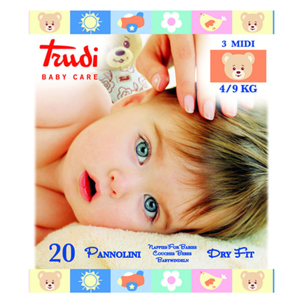 Trudi Baby Care Dry Fit Midi (4-9 kg), 20 plenic
