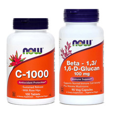 Paket za odpornost NOW (Vitamin C + Beta Glukan), 100 tablet in 90 kapsul
