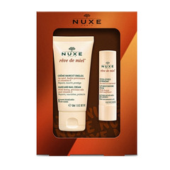 Nuxe Honey Winter, darilni set - krema za roke in nohte in vlažilni stik za ustnice (50 ml + 4 g)