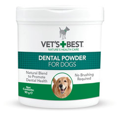 Vet's Best Dental Powder, dstranjevalec zobnega kamna in oblog za pse (90 g)