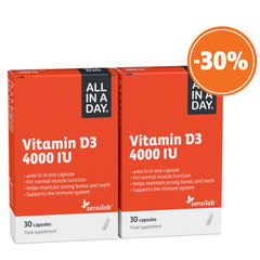Sensilab All in a Day Vitamin D3 4000 IU, kapsule - paket (2 x 30 kapsul)