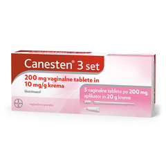Canesten 3 set, 200 mg vaginalne tablete in 10 mg/g krema